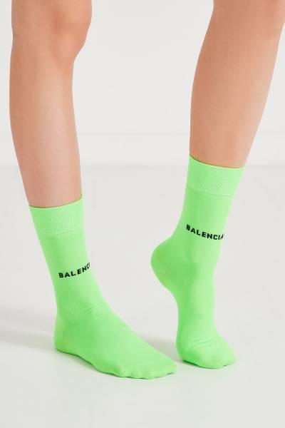 Удлиненные зеленые носки с черным логотипом Balenciaga 397162331 - 3
