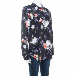 Equipment Eclipse Grey Floral Printed Silk Shirt M 241322