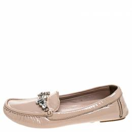 Miu Miu Beige Patent Leather Embellished Loafers Size 38 241694