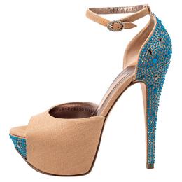 Gina Beige Canvas Crystal Embellished Heel Ankle Strap Platform Sandals Size 37.5 241999