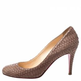 Christian Louboutin Brown Python Leather Pumps Size 37 241380