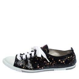 Prada Sport Black Laser Cut Leather Lace Up Low Top Sneakers Size 36.5 240695