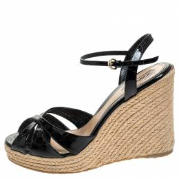 Gucci Black Micro Guccissima Patent Leather Espadrille Wedge Ankle Strap Sandals Size 39