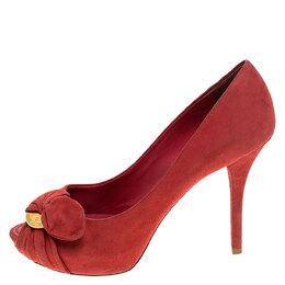 Louis Vuitton Red Suede Catania Peep Toe Platform Pumps Size 38 241516