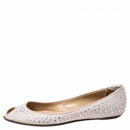 Valentino Beige Embellished Glitter Fabric Peep Toe Ballet Flats Size 40 241636
