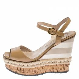 Prada Beige Patent Leather Stripe Cork Platform Wedge Sandals Size 37 240720