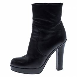 Saint Laurent Paris Black Zipped Platform Ankle Boots Size 38