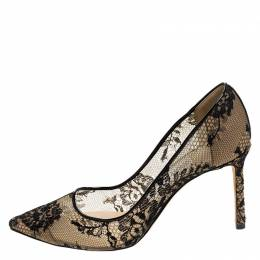 Jimmy Choo Black Floral Lace Love Pointed Toe Pumps Size 37