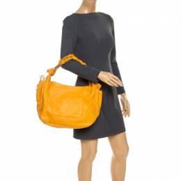 Escada Mustard Leather Knot Handle Shoulder Bag 235771