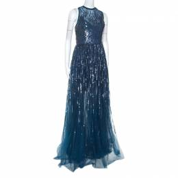 Elie Saab Teal Blue Sequinned Tulle Sleeveless Dress M