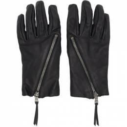 The Viridi-Anne Black Leather Zip-Up Gloves VI-3165-09