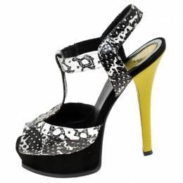 Fendi Multicolor Python Embossed Leather T-Strap Platform Sandals Size 37.5 241993