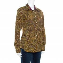 Etro Yellow Paisley Printed Cotton Contrast Trim Detail Long Sleeve Blouse M 162161