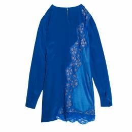 Stella McCartney Klein Blue Floral Lace Insert Mesh Paneled Silk Dress S 162171