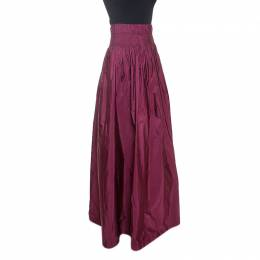 Dries Van Noten Burgundy Taffeta Sinclair Maxi Skirt S 241323