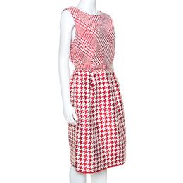 Ch Carolina Herrera Red & White Houndstooth Dress Woven Belted Dress L 242365