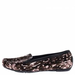 Stuart Weitzman Brown/White Leopard Print Calfhair Loafers Size 39 239877