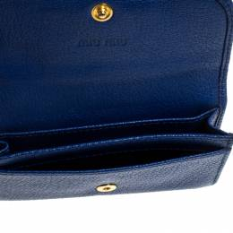 Miu Miu Blue Leather Madras Card Case 242041