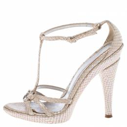 Versace White Python Embossed Leather T Ankle Strap Sandals Size 36 241540