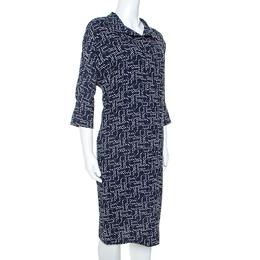 Carolina Herrera Navy Blue Printed Crepe Tunic Dress XS Ch Carolina Herrera 242053