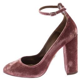 Aquazzura Pink Velvet Alix Ankle Strap Block Heel Pumps Size 39.5 242052