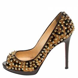 Christian Louboutin Leopard Print Calfhair Yolanda Spikes Peep Toe Pumps Size 36 241826