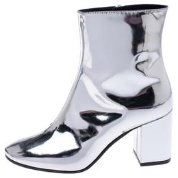 Balenciaga Metallic Silver Leather Ankle Boots Size 36 242853