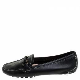 Salvatore Ferragamo Black Leather Gancio Bit Loafers Size 37 242008