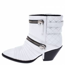 Giuseppe Zanotti Design White Quilted Leather Olinda Zipper Detail Ankle Boots Size 37.5 242865