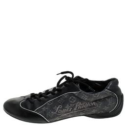 Louis Vuitton Black Monogram Denim and Leather Lace Tennis Sneakers Size 38.5 241581