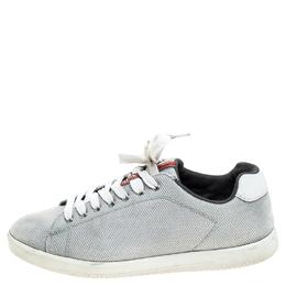 Prada Sport Light Grey Mesh Lace Low Top Sneakers Size 42.5 241635