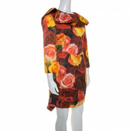 Moschino Red Floral Printed Taffeta Ruffle Detail Short Dress L 240657