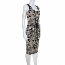 Roberto Cavalli Bicolor Metallic Knit Jacquard Skirt and Top Set S 239241