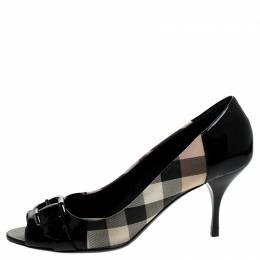 Burberry Black/Beige Nova Check PVC and Patent Leather Buckle Peep Toe Pumps Size 39 241627