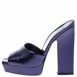 Saint Laurent Purple Python Embossed Leather Platform Sandals Size 38 242775