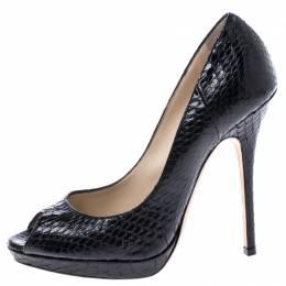 Jimmy Choo Black Python Luna Peep Toe Pumps Size 37