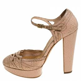 Miu Miu Pale Pink Lasercut Cranks Leather Ankle Strap Platform Pumps Size 38 241504