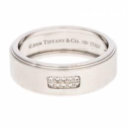 Tiffany & Co. 18K White Gold and Diamonds Century Wedding Band Ring Size 68.5 240730