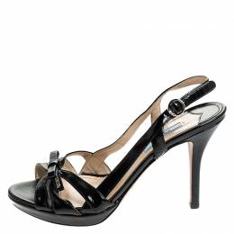 Prada Black Strappy Patent Leather Bow Open Toe Slingback Sandals Size 38 241514