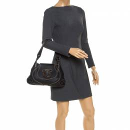 Aigner Black Leather Flap Shoulder Bag 237489