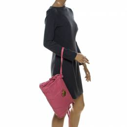 Gucci Pink Leather Large Hysteria Clutch 238280