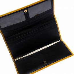 Carolina Herrera Mustard Quilted Leather Flap Wallet 238424