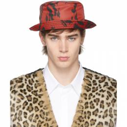 Neil Barrett Red and Black Caotic Pierced Bucket Hat BCP215C M9523