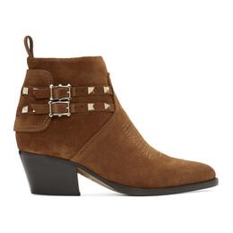 Valentino Brown Valentino Garavani Suede Rockstud Cowboy Boots SW0S0S04GEF