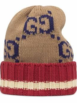 Gucci трикотажная шапка бини с узором GG Supreme 5976364G111