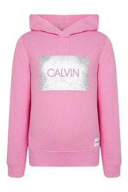 Розовая толстовка с серебристым декором Calvin Klein Kids 2815163918