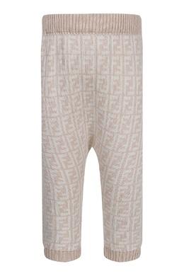 Бежевые шерстяные брюки с узором Fendi Kids 690161908