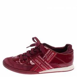 Louis Vuitton Red Patent Leather, Suede And Fabric Logo Sneakers Size 37 242098