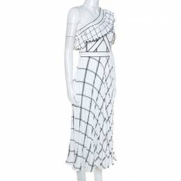Self-Portrait White Checked Crepe One Shoulder Pleated Dress XS