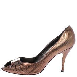 Salvatore Ferragamo Golden Brown Leather Fiberia Peep Toe Pumps Size 39 242128